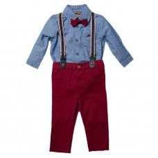 S18899: Baby Boys Bodysuit Shirt With Bow Tie & Chino Pant With Braces Outfit (0-18 Months)