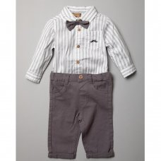 S18900: Baby Boys Bodysuit Shirt With Bow Tie & Chino Pant  Outfit (0-18 Months)