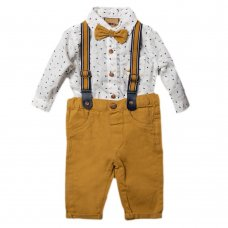S18901: Baby Boys Bodysuit Shirt With Bow Tie & Chino Pant With Braces Outfit (0-18 Months)