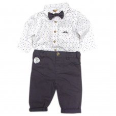S18904: Baby Boys Bodysuit Shirt With Bow Tie & Chino Pant  Outfit (0-18 Months)
