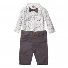 S18905: Baby Boys Bodysuit Shirt With Bow Tie & Chino Pant  Outfit (0-18 Months)