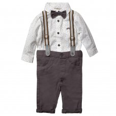 S18907: Baby Boys Bodysuit Shirt With Bow Tie & Chino Pant With Braces Outfit (0-18 Months)