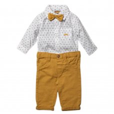 S18908: Baby Boys Bodysuit Shirt With Bow Tie & Chino Pant  Outfit (0-18 Months)