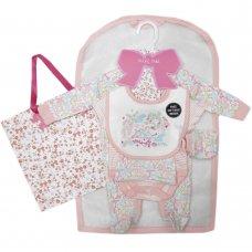 S18927: Baby Girls Floral Bird 6 Piece Mesh Bag Gift Set (NB-6 Months)