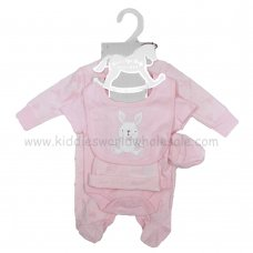 S18945: Baby Girls Bunny Embossed 5 Piece Gift Set (NB-6 Months)