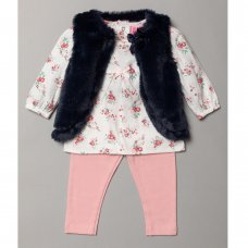 S18950: Baby Girls Fur Gilet, Floral Print Top & Legging Outfit (3-24 Months)
