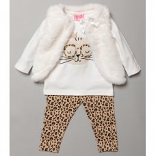 S18951: Baby Girls Fur Gilet, Cat Print Top & Legging Outfit (3-24 Months)