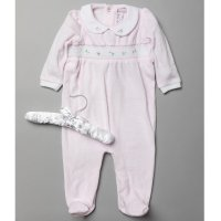 S18975: Baby Girls Smocked Velour All In One On A Satin Padded Hanger (0-9 Months)