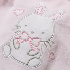 S18979: Baby Girls Bunny Applique Velour All In One On A Satin Padded Hanger (0-9 Months)