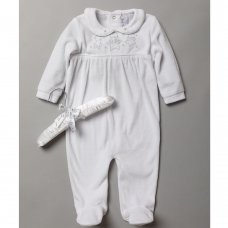 S18981: Baby Unisex Velour All In One With Bear Embroidery On A Satin Padded Hanger (0-9 Months)