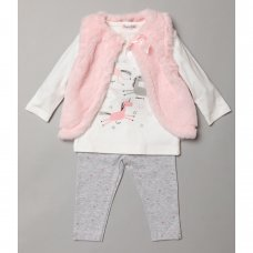 S19008: Baby Girls Fur Gilet, Unicorn Print Top & Legging Outfit (3-24 Months)