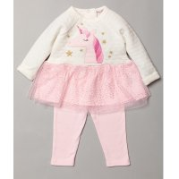 S19015: Baby Girls Unicorn Applique Quilted Dress With Glitter Print Skirt & Legging Outfit (3-24 Months)