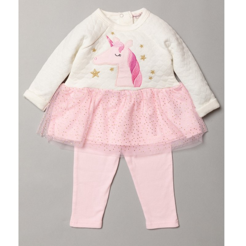 S19015: Baby Girls Unicorn Applique Quilted Dress With Glitter Print Skirt & Legging Outfit (6-24 Months)