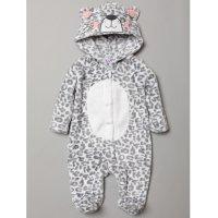 S19016: Baby 3D Leopard Fleece Onesie/All In one (0-12 Months)