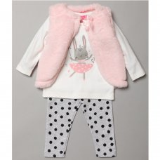 S19018: Baby Girls Fur Gilet, Bunny Print Top & Legging Outfit (3-24 Months)