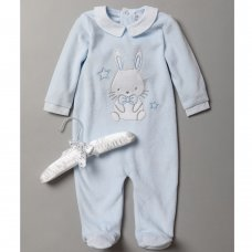 S19021: Baby Boys Bunny Applique Velour All In One On A Satin Padded Hanger (0-9 Months)