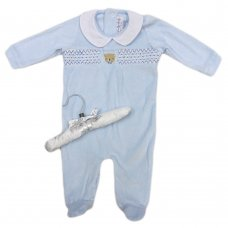 S19022: Baby Boys Smocked Velour All In One On A Satin Padded Hanger (0-9 Months)