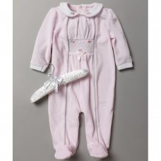 S19024: Baby Girls Smocked Velour All In One On A Satin Padded Hanger (0-9 Months)