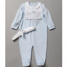 S19033: Baby Boys Velour All In One With Waffle Bib On A Satin Padded Hanger (0-9 Months)