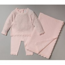 S19055: Baby Girls Cable Knitted 3 Piece Shawl Set (0-9 Months)