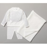 S19077: Baby Unisex White Knitted 3 Piece Outfit (0-9 Months)