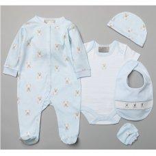 S19085: Baby Boys Bear 6 Piece Mesh Bag Gift Set (NB-6 Months)