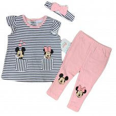 S19106: Baby Disney Minnie Mouse T-Shirt, Legging & Headband Outfit (3-24 Months)
