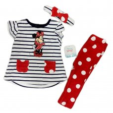 S19107: Baby Disney Minnie Mouse T-Shirt, Legging & Headband Outfit (3-24 Months)