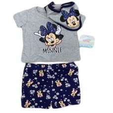 S19110: Baby Disney Minnie Mouse T-Shirt, Short & Bib Outfit (0-12 Months)