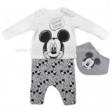 S19111: Baby Disney Mickey Mouse Top, Legging & Bib Outfit (0-12 Months)