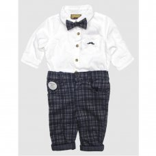 S19117: Baby Boys Bodysuit Shirt With Bow Tie & Check Trouser Outfit (0-18 Months)