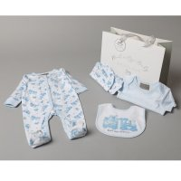 S19120: Baby Boys Little Bears Express  6 Piece Mesh Bag Gift Set (NB-6 Months)
