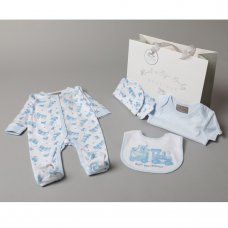 S19120: Baby Boys Little Bears Express  6 Piece Mesh Bag Gift Set (NB-6 Months)
