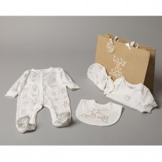 S19130: Baby Unisex Bears 6 Piece Mesh Bag Gift Set (NB-6 Months)