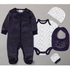 S19135: Baby Boys Bear & Moon 5 Piece Velour Gift Set (NB-6 Months)