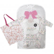 S19137: Baby Girls Floral 6 Piece Mesh Bag Gift Set (NB-6 Months)