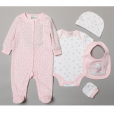 S19140: Baby Girls Ballerina 5 Piece Velour Gift Set (NB-6 Months)