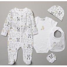 S19142: Baby Unisex Animals  6 Piece Mesh Bag Gift Set (NB-6 Months)