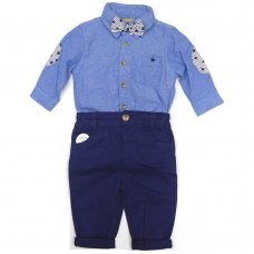 S19160: Baby Boys Bodysuit Shirt With Bow Tie & Chino Pant  Outfit (0-18 Months)