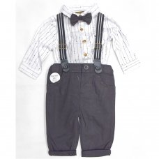 S19162: Baby Boys Bodysuit Shirt With Bow Tie & Chino Pant With Braces Outfit (0-18 Months)