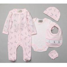 S19167: Baby Girls  Bunny  6 Piece Mesh Bag Gift Set (NB-6 Months)