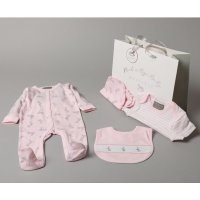 S19167: Baby Girls  Bunny  6 Piece Mesh Bag Gift Set (NB-6 Months)