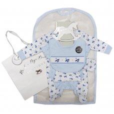 S19168: Baby Boys Smocked Planes 6 Piece Mesh Bag Gift Set (NB-6 Months)