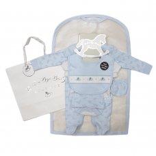 S19170: Baby Boys Smocked Elephant  6 Piece Mesh Bag Gift Set (NB-6 Months)