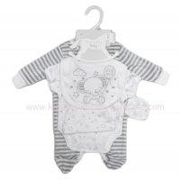 S19182: Baby Unisex Elephant 5 Piece Velour Gift Set (NB-6 Months)