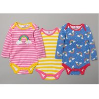 S19184: Baby Girls Rainbow 3 Pack Long Sleeve Bodysuits (0-12 Months)