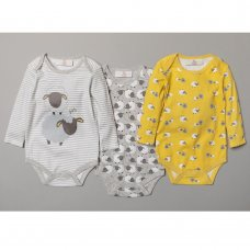 S19185: Baby Unisex Sheep 3 Pack Long Sleeve Bodysuits (0-12 Months)