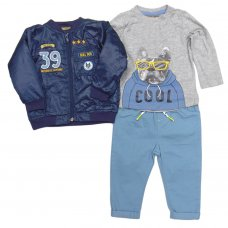 S19198: Baby Boys Bomber Jacket, Top & Pant Outfit (6-24 Months)