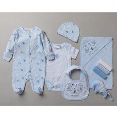 S19203: Baby Boys Elephant 10 Piece Mesh Bag Gift Set (NB-6 Months)