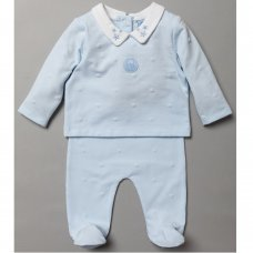 S19224: Baby Boys Flock Star Print Top & Bottom Outfit (0-9 Months)